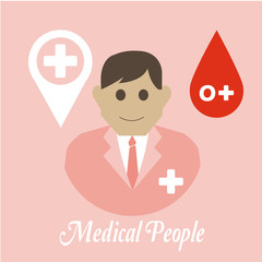 Medical people, blood drop and Symbol location life  over  pink