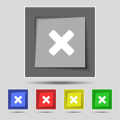 cancel, multiplication icon sign on the original five colored bu