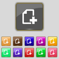 Add File document icon sign. Set with eleven colored buttons for