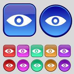 Eye, Publish content, sixth sense, intuition icon sign. A set of