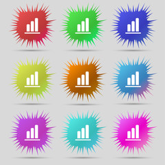 Growth and development concept. graph of Rate icon sign. A set o