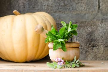 Still life of aromatic herbs.