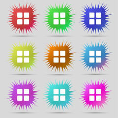 List menu, Content view options icon sign. A set of nine origina