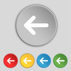 Arrow left, Way out icon sign. Symbol on five flat buttons. Vect