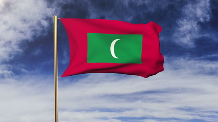 Maldives flag with cloud waving in the wind. Green screen, alpha
