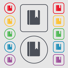 book bookmark icon sign. symbol on the Round and square buttons