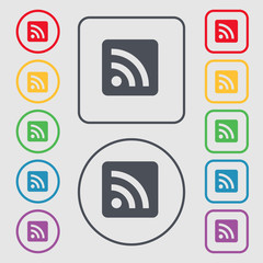 RSS feed icon sign. symbol on the Round and square buttons with