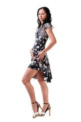 Full length of young elegant female
