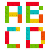 Alphabet set made of toy construction brick blocks isolated iso - 81322773