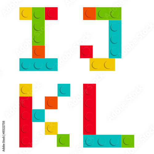 Alphabet set made of toy construction brick blocks isolated iso - 81322758