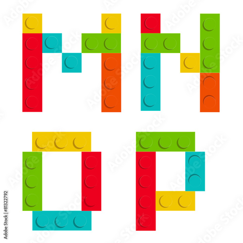 Alphabet set made of toy construction brick blocks isolated iso - 81322792