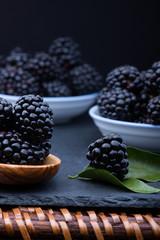 Blackberry on stone board