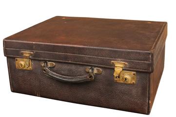 Old locked retro vintage leather suitcase on white background