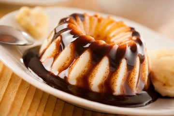 pudding dessert with choccolate syrup