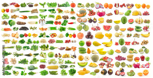 set of vegetable and fruit on white background Photo by sommai