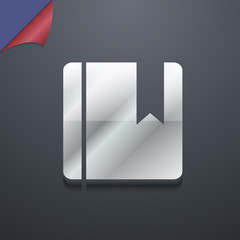 book bookmark icon symbol. 3D style. Trendy, modern design with