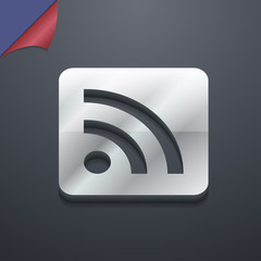 RSS feed icon symbol. 3D style. Trendy, modern design with space