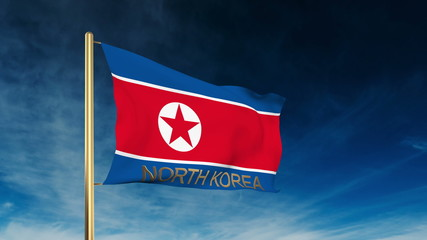 North Korea flag slider style with title. Waving in the wind