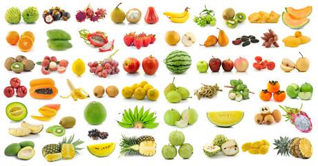 set of fruit on white background