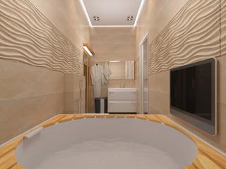 3D rendering of the bathroom in beige tones