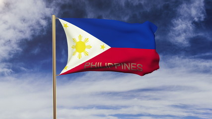 Philippines flag with title waving in the wind. Looping sun