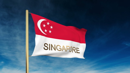 Singapore flag slider style with title. Waving in the wind with