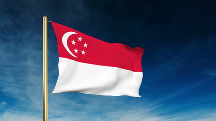 Singapore flag slider style. Waving in the wind with cloud