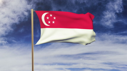 Singapore flag with cloud waving in the wind. Green screen