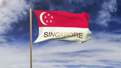 Singapore flag with title waving in the wind. Looping sun rises