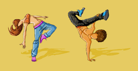 Hip hop dancer couple. Break dance.