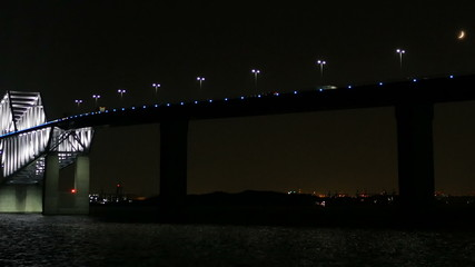 Transportation surrounding the illuminated Tokyo Gate Bridge