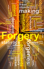 Forgery background concept wordcloud glowing