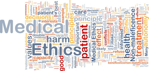 Medical ethics background concept wordcloud