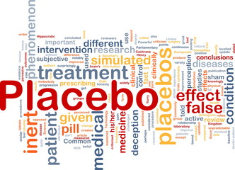 Placebo background concept wordcloud