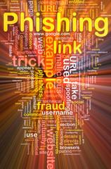 Phishing background concept wordcloud glowing