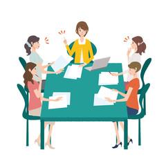会議 ミーティング 女性