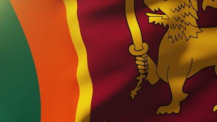 Sri Lanka flag waving in the wind. Looping sun rises style