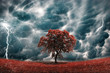 Leinwandbild Motiv Stormy tree landscape