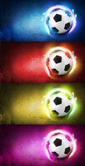 Set of colorful football theme background