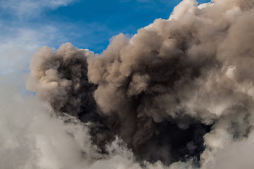 explosion of ash of the volcano Etna