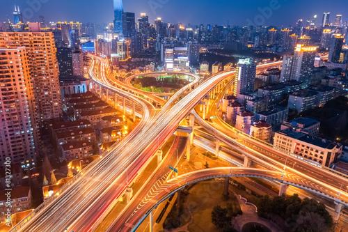 Foto op Aluminium Nacht snelweg city interchange at night
