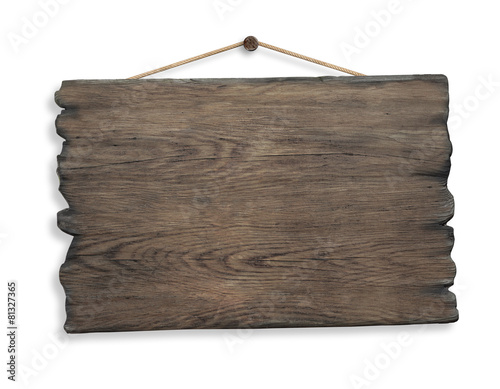 wood sign hanging on rope and nail isolated - 81327365