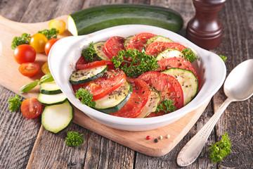 tomato,zucchini and herbs