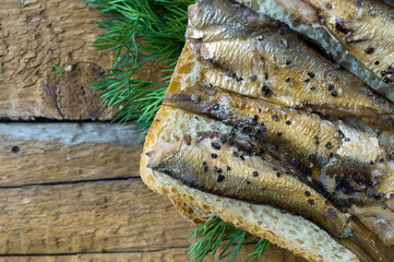 Breakfast with sprats and dill