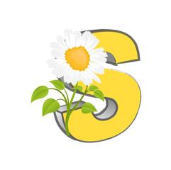Vector S Alphabet with Flower