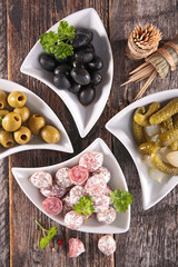 appetizer, olive, sausage and gherkin