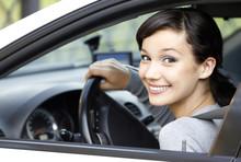 """Постер, картина, фотообои """"Pretty girl in a car"""""""