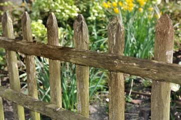 barrière en bois dans jardin