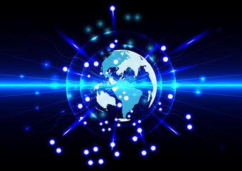 Abstract global future technology with world on blue  background