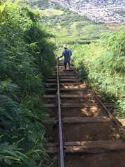 Man climbing down Koko crater stairs, Oahu